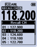 Recall channel screen