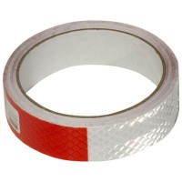 Red / white high-visibility warning tape 25mm x 5m